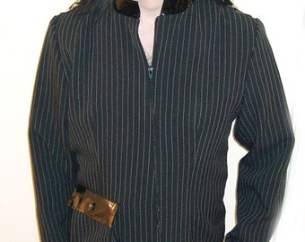 SALE - Pinstripe, Pvc & Studs Military Style Jacket, goth, sizes small to large