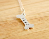 Sterling silver dog bone necklace with dog name for the pet lover - dog necklace - Pet Remembrance - Pet Necklace - Pet Jewelry