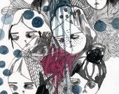 original illustration, original drawing, girls and patterns