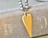 Bohemian heart. beaded gold heart charm necklace.Tiedupmemories