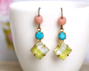 Lime green turquoise pink glass rhinestone beaded earrings. Tiedupmemories
