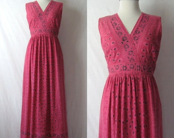India Dress Boho Chic Maxi Dress 60s 70s Block Print Dress Indian Cotton Dress