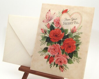 Vintage Greeting Card - Secret Pal - Valentine's Day - Secret Admirer - Hallmark - Vellum - Note card