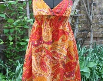 SALE was 18.00 Paisley sundress orange yellow hippie dress small