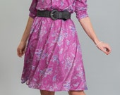 RESERVED Vintage Raspberry Pink Floral Dress (Size Medium)