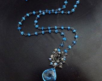 9ct Genuine Blue Topaz-Labradorite Swiss Blue Quartz Cluster-Oxidized Sterling Silver Adjustable Pendant Necklace