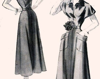 1940s Day Dress/ Frock with Large Pockets New York 612 Vintage Sewing Pattern Size 16 Bust 34