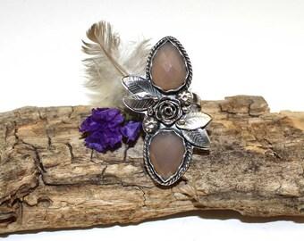 Grey Chalcedony Rose Garden Sterling Silver BOHO Ring, rustic, artisan, metalwork, handmade, Bohemian, Gypsy, size 6.5