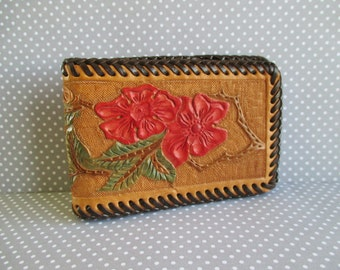 Vintage Tooled Leather and Vinyl Wallet / Bill Fold