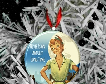 """Peter Pan Never is an awfully long time Image Christmas Tree 2.25"""" Ornament"""