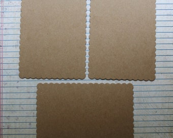 3 bare chipboard scalloped rectangle diecuts 5 inches wide x 3 1/2 inches high