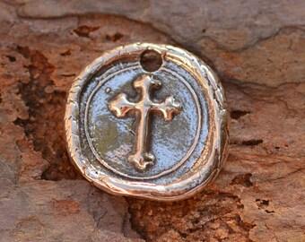 Artisan Sterling Silver Cross Seal Charm