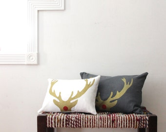 Christmas Pillow - Rudolph Antler Decorative Throw Pillow - Gold and White Antler Christmas Pillow - Xmas Lumbar Throw Pillow