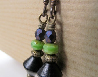 Purple, Lime Green and Black Beaded Niobium Earrings
