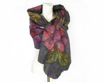 Felted Scarf Shawl Cobweb Merino Wool Silk Mohair Grey Pink Purple Green Floral Flower