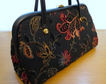 Vintage Tapestry Handbag, Tapestry Bag, Carpet Bag, Verdi Tapestry Purse, chenille fabric, black flower bag, pink floral, velour bag