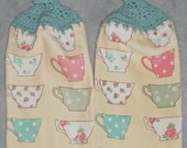 Tea Cup Crocheted Top Dish Towel Tea Cup Granny Kitchen Towel  Tea Cup Hand Towel Set