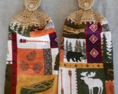 Crochet top Wilderness towel set - Wilderness Handle Top Kitchen Towel Set - Wildlife  Granny Kitchen Towel Hand Towel Set