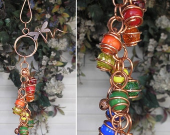 Double Rainbow Dragonfly Copper Glass Gypsy Wind Chimes / Windchime Garden Art Suncatcher Outdoor Yard