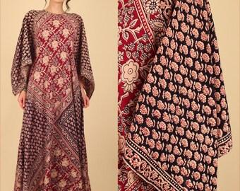 ViNtAgE 70's Indian Cotton Caftan Bohemian India Dress ANGEL Wing Maxi FULL Sweep Hippie Festival Dress Kaftan Free Size O/S