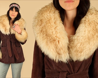 ViNtAgE 70's Suede Shearling PENNY LANE Wrap Coat HiPPiE Fur Russian HiPPiE Princess Coat S/M