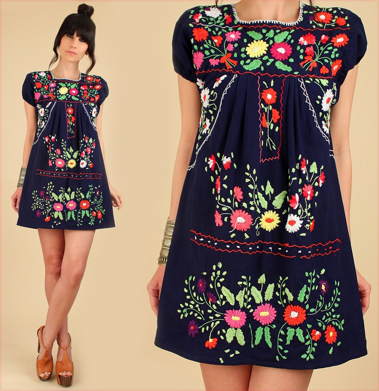 Vintage s mexican embroidered navy mini dress tunic