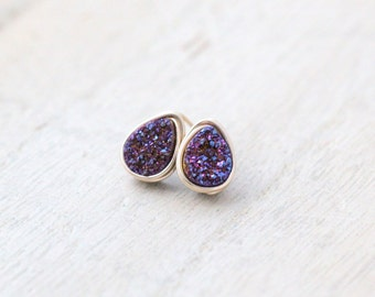 Teardrop Druzy Studs , Post Earrings in Gold Rose Sterling Silver , Blue Violet Minimalist Fashion,  - Inkwell