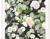 Cascading Roses - Soft Floral Roses - Beautifully textured cotton canvas art print. Order as a 5x7 8x10 11x14 or 16x20 size.
