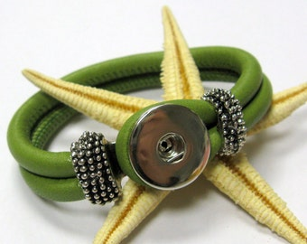 SMAUGGS leather bracelet for snap charms (popper snap), clip for buttons, colorchoice