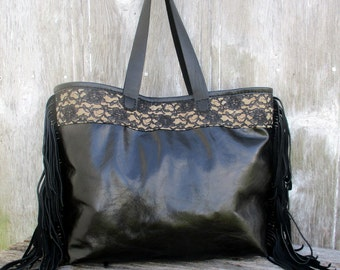 RESERVED for Jennifer Black Leather Tote Bag in Sparkly Stingray by Stacy Leigh