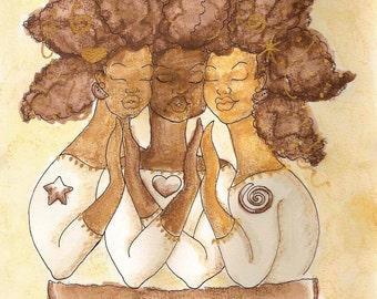 Print:11X14 16x20 20x30 True Self Sepia Trio! Affirmation Natural Hair by karin turner KarinsArt  watermelon african american spirit