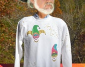 80s vintage sweatshirt JESTER mardi gras joker rhinestone glitter masquerade raglan Large Medium white crewneck wtf