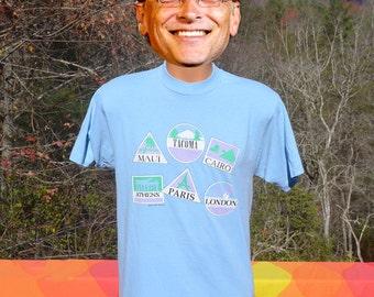 vintage 80s t-shirt TACOMA washington maui paris travel tee Large Medium funny