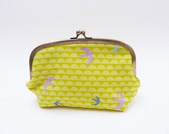 Cosmetic bag, green bird design, cotton purse