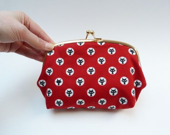 Cosmetic bag, red and white cat design, cotton purse