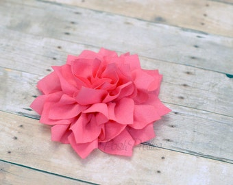 Bubblegum Pink Flower Hair Clip - Lotus Blossom - With or Without Rhinestone Center
