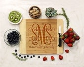 Personalized Cutting board, Custom Engraved Bamboo wood, Kitchen Decor, Family Name, Housewarming Gift, Newlywed Gift --22802-CUTB-001