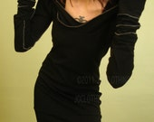 hooded tunic dress/extra long sleeves in BLACK
