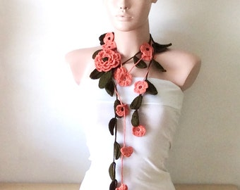 Removable Brooches, Flower Crochet , Flower Lariat, Scarf