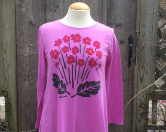 Pink Primrose Lightweight Jersey Asymmetrical Long Sleeve Tunic