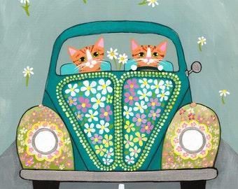 Hippie CATS, Flower Power Road Trip, Driving Cats, Original Cat Folk Art Painting