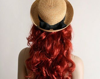 Vintage Straw Boater Hat with Black Bow