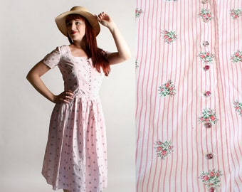 Vintage 1950s Dress - Cotton Striped Floral Print Bouquet Pink Stripes I. Magnin Dress - Medium