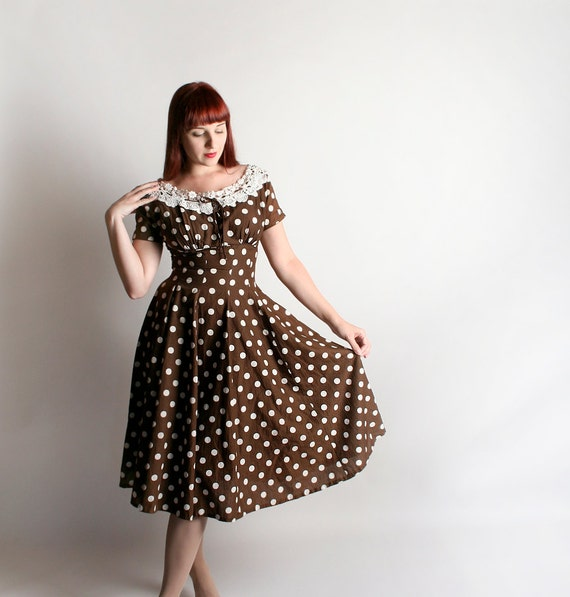 Vintage 1950s Dress - Polka Dot Vicky Vaughn Chocolate Brown and White Textured Lace Sweetheart Cotton Dress - Small