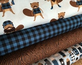 Burly Beavers Fabric Bundle Blue, Hipster fabric, Lumberjack, Animal fabric, Plaid, Robert Kaufman- Choose the cuts, Free Shipping Available
