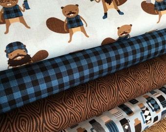 Burly Beavers Fabric Bundle Blue, Hipster fabric, Lumberjack, Animal fabric, Plaid, Robert Kaufman- Choose the cuts, Free Shipping Available