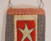 Primitive Americana Needlepunch Mini Quilt White Star