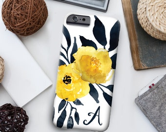 iPhone 7 Personalized Case  - Yellow floral watercolor  - other models available