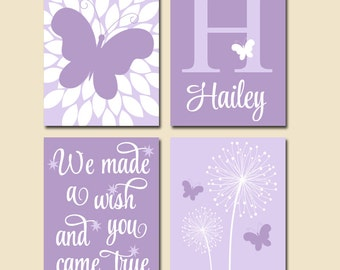 DANDELION BUTTERFLY Nursery Wall Art, We Made A Wish Quote, Baby Girl Nursery Artwork, Girl Bedroom Pictures,Canvas or Prints,Set of 4 Decor