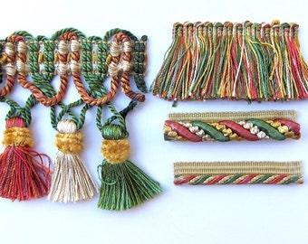 Fringe Trim Tassel Designer Pack for Fiber Artist and Wearable Art - Rose and Green